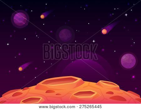 Space Asteroid Surface. Planet With Craters Surface, Space Planets Landscape And Comet Crater Cartoo