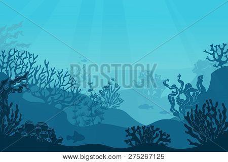 Underwater Seascape. Seafloor, Undersea With Seaweed. Dark Saltwater With Corals Silhouettes. Ocean