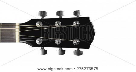 Musical Instrument - Headstock Peghead Black Acoustic Guitar Isolated On A White Background.