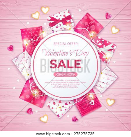 Valentine's Day Sale Flyer Template. Poster, Card, Label, Background, Banner On Circle Frame With Gi