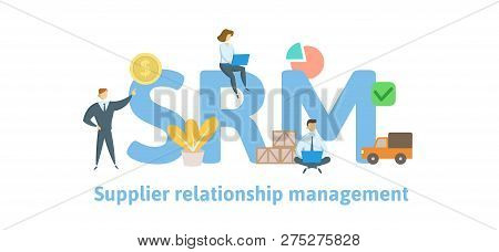 Srm, Supplier Relationship Management. Concept With Keywords, Letters And Icons. Flat Vector Illustr