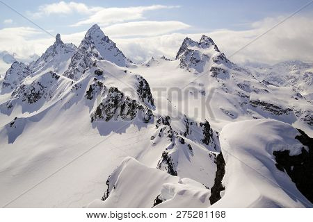 Winter Mountain Landscape In The Swiss Alps Above Klosters With The Gross Litzner And Gross Seehorn