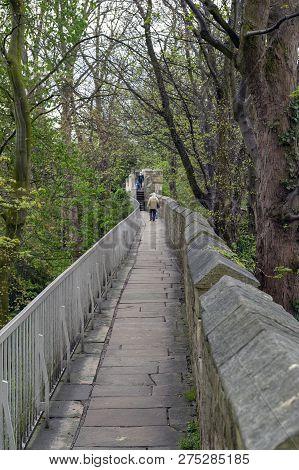 York, England - April 2018: Elevated Walkway On York City Walls, (bar Walls Or Roman Walls), Ancient