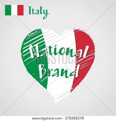 Vector Flag Heart Of Italy, National Brand. Italy Flag In Shape Of Heart, Pencil Strokes Drawing.