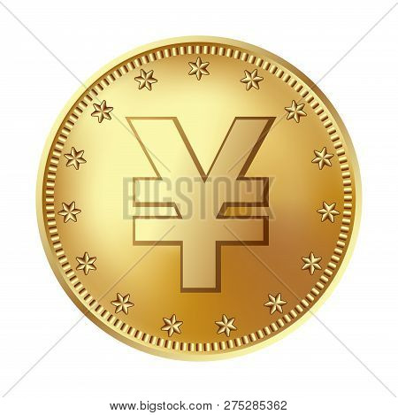 Golden Japanese Yen Or Chinese Yuan Coin, Money. Vector Detailed Realistic Illustration Isolated On