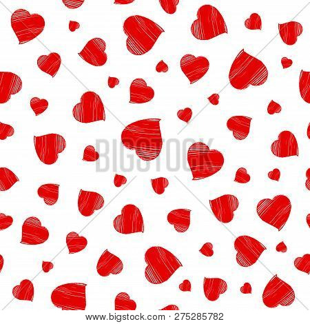 Hearts Seamless Pattern. Happy Valentines Day Greeting. Vector Illustration With Hand Drawn Red Hear