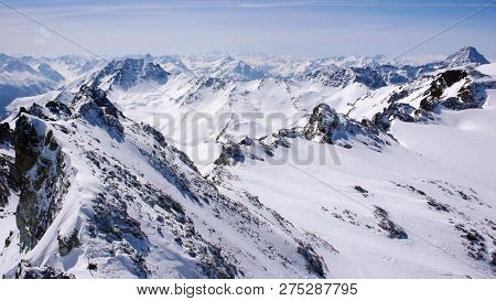 Winter Mountain Landscape In The Silvretta Mountain Range In The Swiss Alps Between Scuol And Ischgl