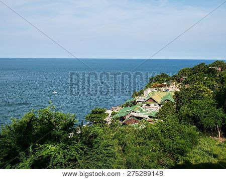 Fishing Village On The Hillside On The Seashore In Summertime.