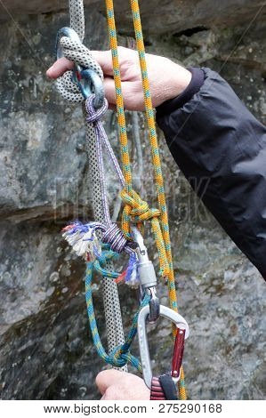 Emergency Rescue System With Ropes During A Wilderness Rescue Course And A Hand Pointing And Explain