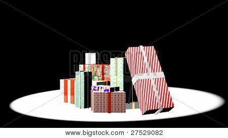 christmas presents in spotlight
