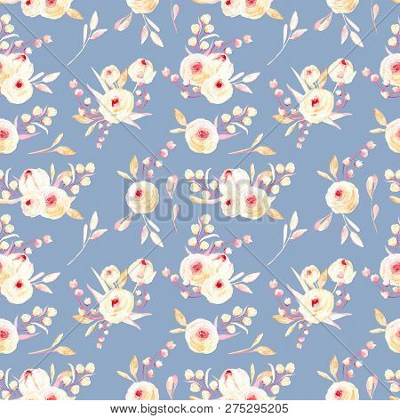Seamless Floral Pattern With Pink Watercolor Flower Posies, Hand-painted On A Blue Background