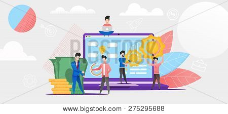 Illustration Online Financial Investment In Future. Group People Studying Financial Market System. S