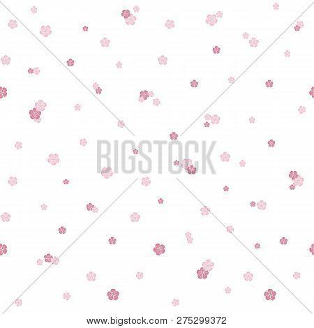 Seamless Sakura Flowers Background, Pink Blooming On White, Design Element Stock Vector Illustration