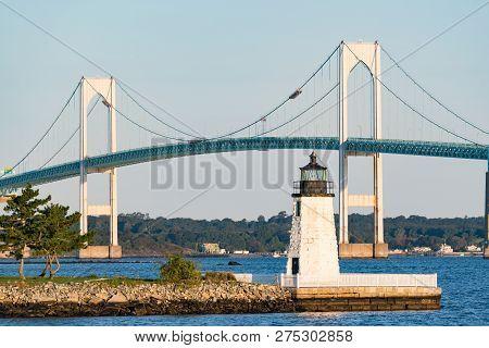 Goat Island Lighthouse In Newport, Rhode Island