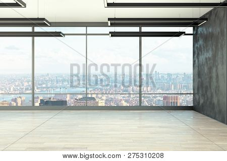 Clean Empty Office Interior With Panoramic New York City View And Daylight. 3d Rendering