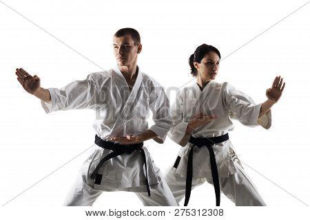 Karate Girl And Boy Fighting