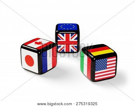 Dice With Flags Of The G7 Nations Cast. 3d Illustration