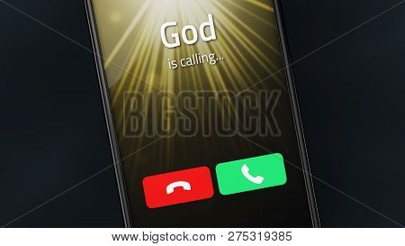 Incoming Call From God On A Smartphone. 3d Illustration