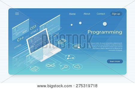 Software Development And Programming. Program Code On Pc Monitor Screen For Developer. Web Developme