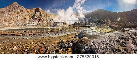 Landscape Of Volcanic White Island, New Zealand