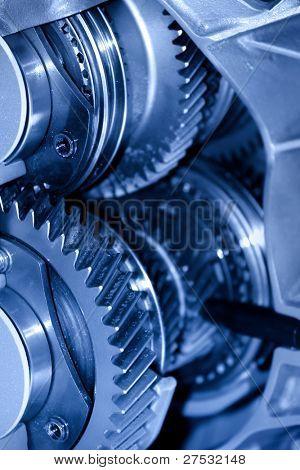 Close up shot of automotive transmission cut section