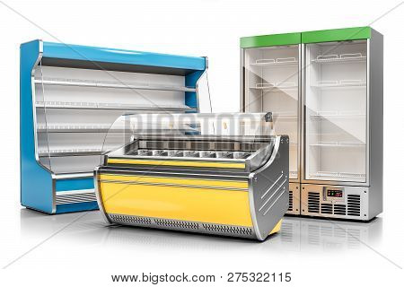 Commercial Freezer Display Case, Ice Cream Showcase And Vertical Refrigeration Cabinet Isolated On W