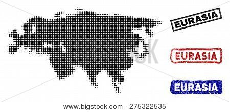 Halftone Dot Vector Abstracted Eurasia Map And Isolated Black, Red, Blue Grunge Stamp Seals. Eurasia