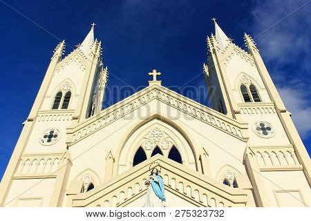 Immaculate Concepcion Cathedral In Puerto Princesa, Palawan Island Of The Philippines. Tourist Histo