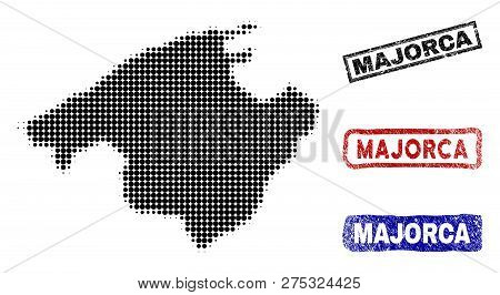 Halftone Vector Dot Abstracted Majorca Map And Isolated Black, Red, Blue Grunge Stamp Seals. Majorca