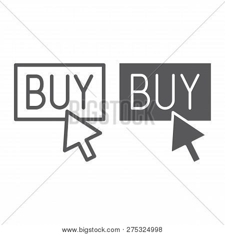 Buy Now Line And Glyph Icon, Shopping And Commerce, Buy Button Sign, Vector Graphics, A Linear Patte