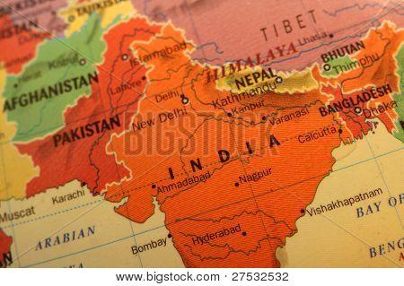 bunte Indien Karte auf dem Globus close up shot