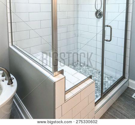 Bathroom Shower Base With White Rectangular Wall Tiles, Custom Shower Seat, Mosaic Floor Tiles Insid