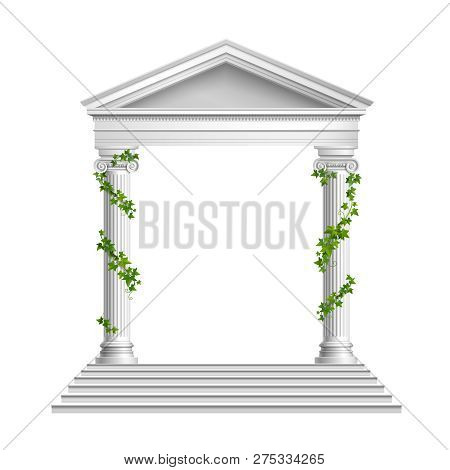 Realistic Columns Decorated Green Leaves With Roof And Base With Stairs Composition On White Backgro