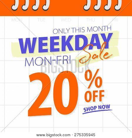Orange Blue Weekday Sale 20 Percent Off Promotion Website Banner Heading Design On Calendar Backgrou