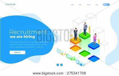 Isometric Online Job Search And Human Resource, Recruitment Concept. We Are Hiring. Presentation For