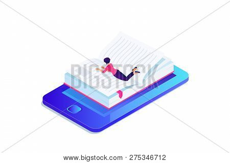 Isometric concept of e-learning with book in mobile device. Person, woman lying and reading 3d eBook. Paper book with bookmark on phone screen. Vector illustration. poster