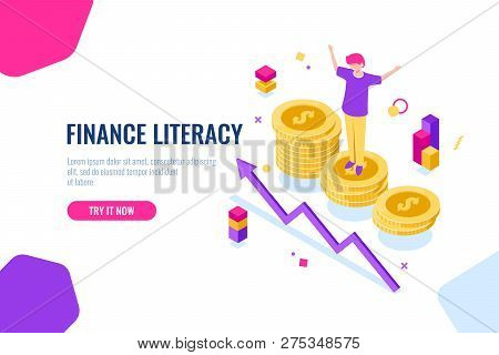 Financial Literacy Isometric, Money Accounting, Economic Illustration With Woman Who Stand On Podium