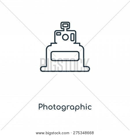 Photographic Icon In Trendy Design Style. Photographic Icon Isolated On White Background. Photograph