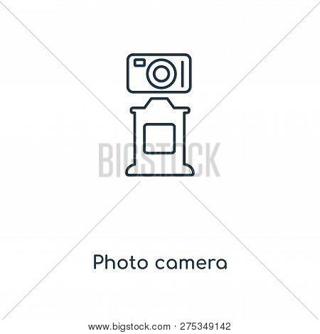 Photo Camera Icon In Trendy Design Style. Photo Camera Icon Isolated On White Background. Photo Came