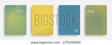 Modern Annual Report Design Vector Collection. Gradient Grid Texture Cover Page Layout Templates Set