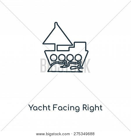 Yacht Facing Right Icon In Trendy Design Style. Yacht Facing Right Icon Isolated On White Background