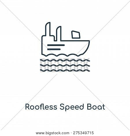 Roofless Speed Boat Icon In Trendy Design Style. Roofless Speed Boat Icon Isolated On White Backgrou