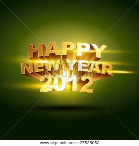 beautiful golden happy new year 2012 vector background