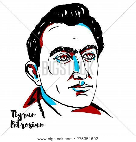 China, Chenghai - December 20, 2018: Tigran Petrosian Engraved Vector Portrait With Ink Contours. So