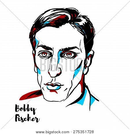 China, Chenghai - December 16, 2018: Bobby Fischer Engraved Vector Portrait With Ink Contours. Ameri