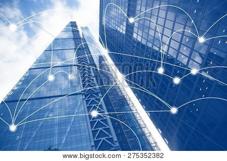 smart city and connection lines. Internet concept of global business,  skyscrapers