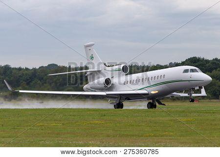 Farnborough, Uk - July 19, 2014: Dassault Falcon 7x (m-celt) Private Jet, Owned By Dermot Desmond, B