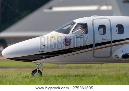 Farnborough, Uk - July 20, 2014: Eclipse 500 Business Jet N843te Being Flown By Bruce Dickinson From
