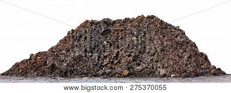 Soil Clay Mountain Pile, Soil Heap Land For Construction Home Or Road Way Building, Wet Soil Dirt Mo