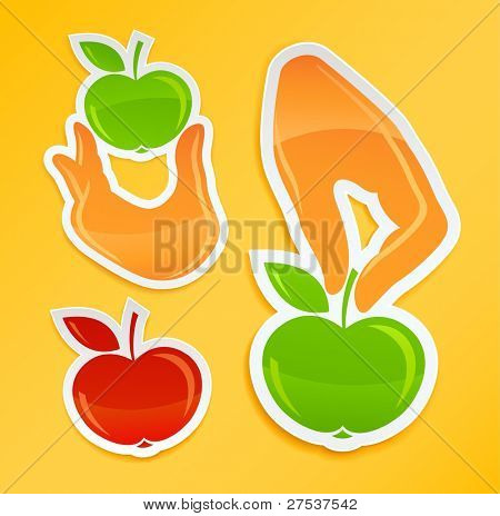 sticker with hand hold apple vector illustration